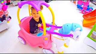 Horse Carriage Ride-on * Fun Playground Kids Playing * Slides Playhouse and Toys