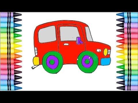 Menggambar Dan Mewarnai Gambar Mobil Lucu Untuk Anak Anak Youtube