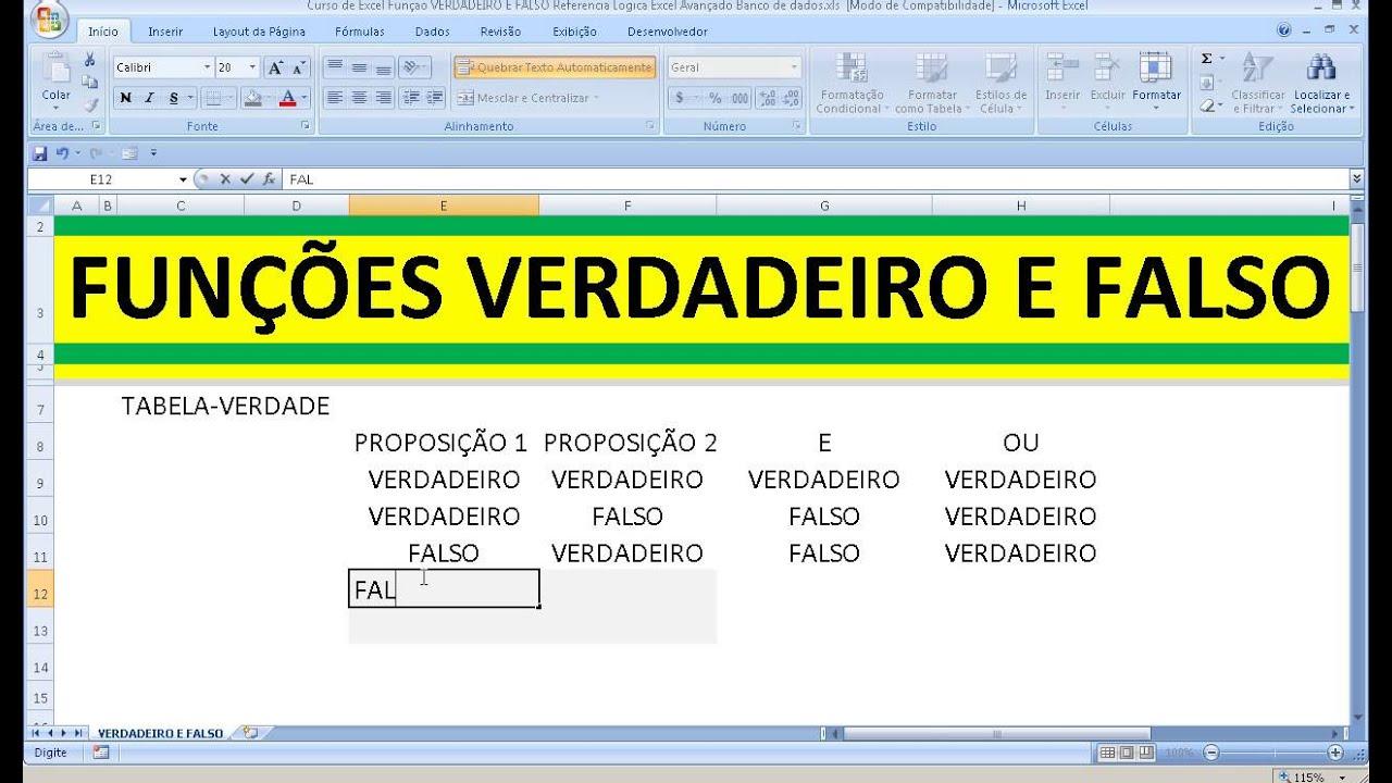 Curso de Excel Função VERDADEIRO E FALSO E OU Referência Lógica Excel  Avançado Banco de dados