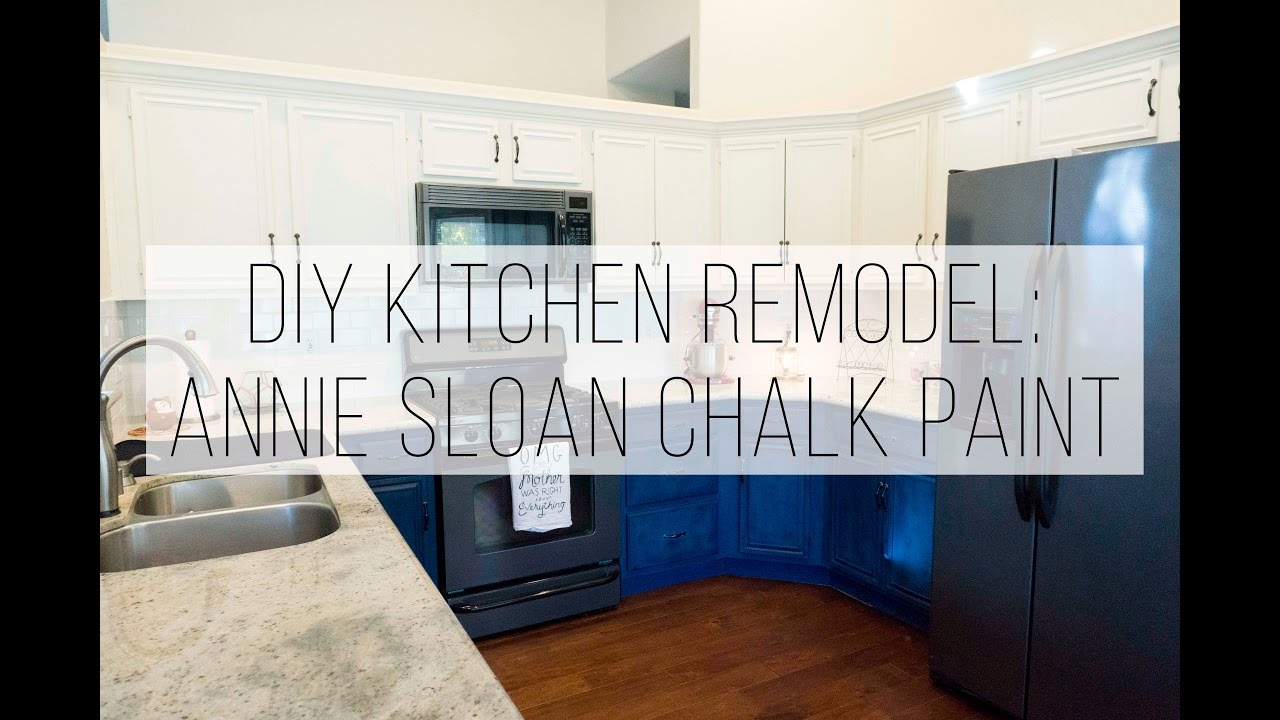 Medium image of diy kitchen cabinet remodel with annie sloan chalk paint   napoleonic blue  u0026 old white