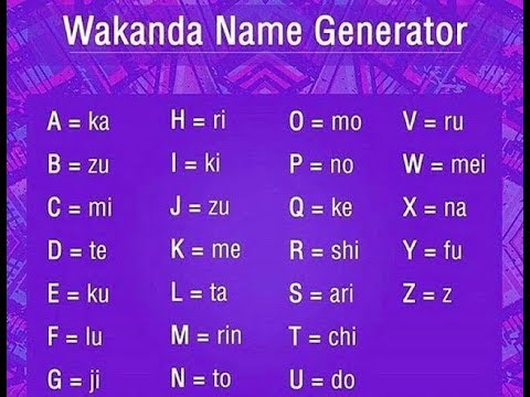 word generator from letters wakanda name generator will smith challenge 25688 | hqdefault