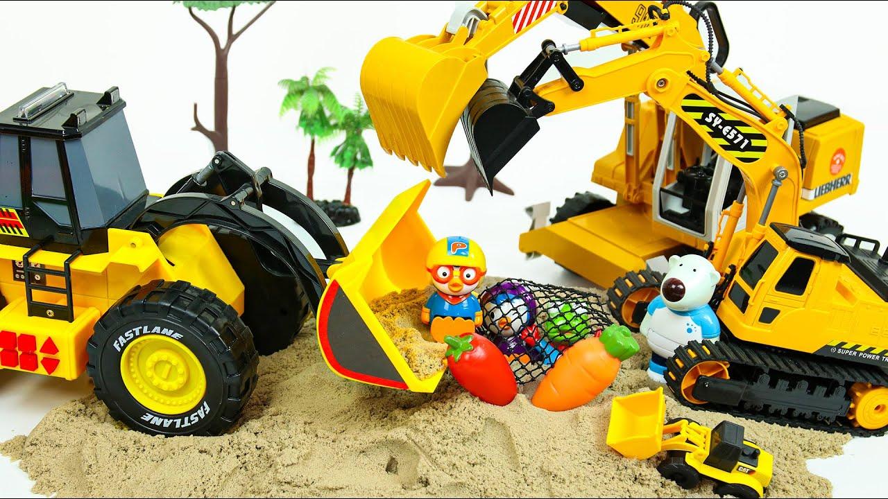 뽀로로 중장비 모래놀이 장난감 Pororo Heavy equipment Toys - 꿀벌튜브