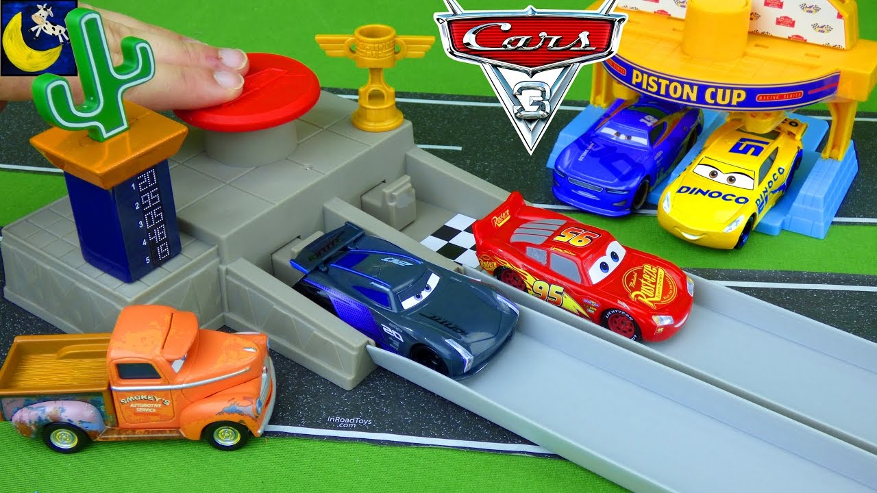 Disney Cars Toys Race Track Lightning Mcqueen Jackson Storm