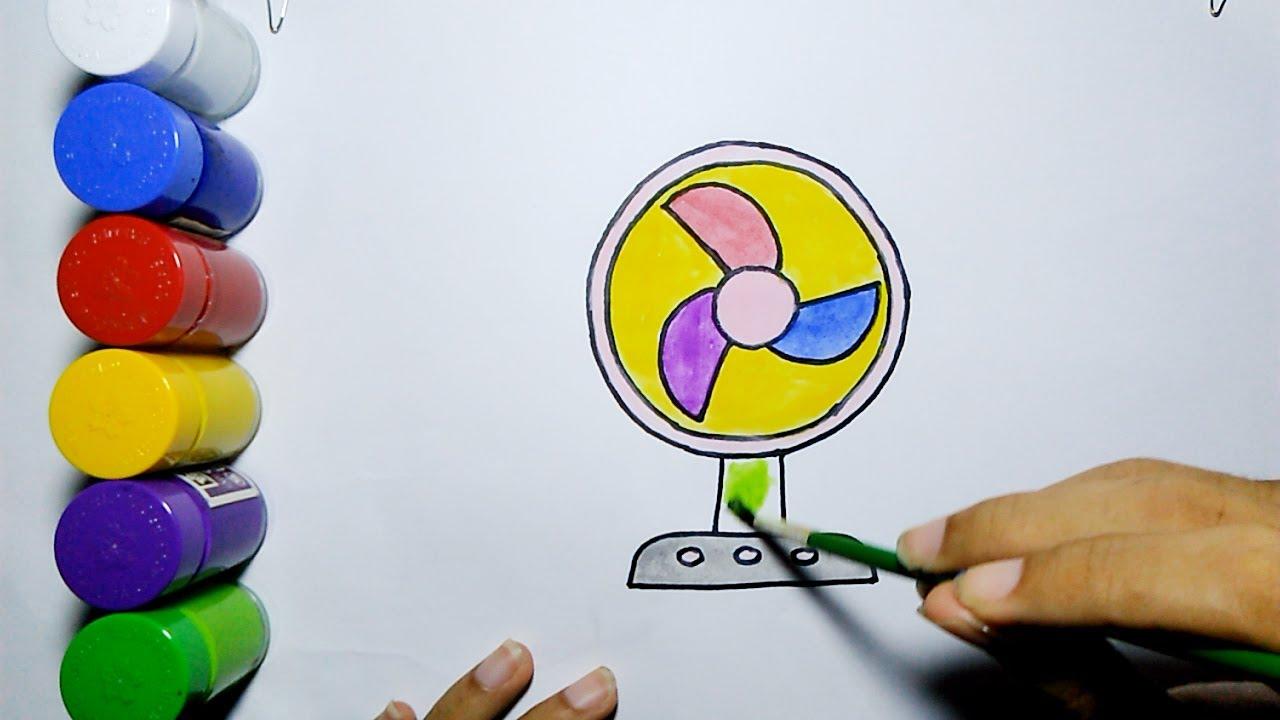 menggambar dan mewarnai kipas angin mudah how to draw and coloring fan easy