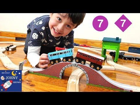 Johny Opens MTA Subway Train Toys And Wooden Train Tracks For His 4th Birthday