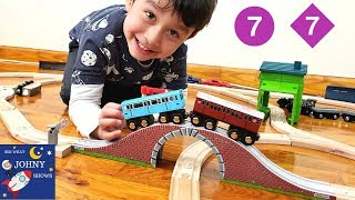 Johny Opens MTA Subway Train Toys And Wooden Train Tracks For His 4th Birthday