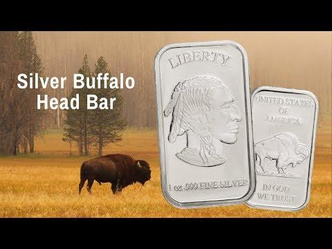 1-oz Silver Buffalo Head Bar
