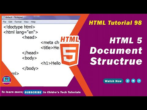 HTML Video Tutorial - 98 - Typical Structure Of HTML5 Document