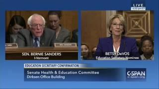 Bernie Sanders Attacks DeVos, Doesn