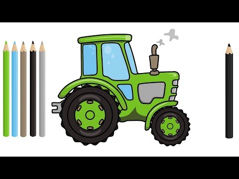 #Tractor Drawing | excavator, truck, bulldozer - Video for kids | Traktor rysunek animacja