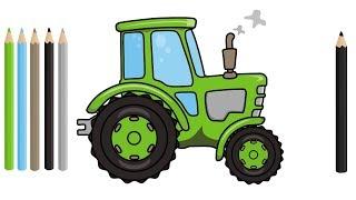 Tractor Drawing | excavator, truck, bulldozer - Video for kids | Traktor rysunek i Kolorowanka bajka