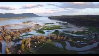 4k drone filming flooding cowichan bay bc canada 10 mar 16