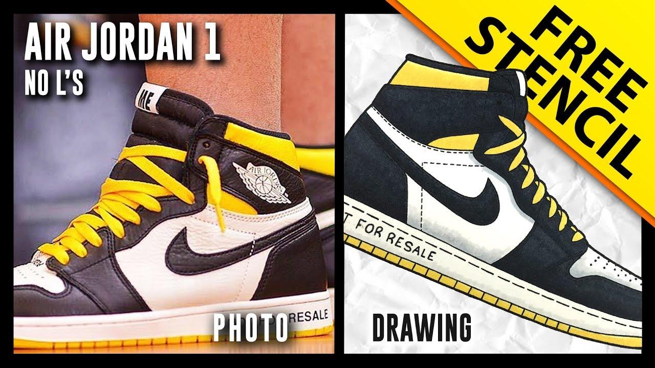 save off 43abb d419d Air Jordan 1 NRG No L's - Sneaker Drawing w/ FREE Stencil