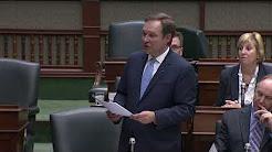 Wellington-Halton Hills MPP Ted Arnott speaking in the Ontario Legislature on March 21th, 2018.