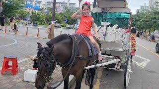 말 마차를 타러 가볼까요!! 서은이의 진짜 말이 끄는 마차 체험 말 당근 주기  영어 동요 Wheels on the Bus Horse Carriage