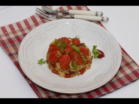 теплый Салат с кускусом и помидорами черри#рецепты,#салат,#салаты
