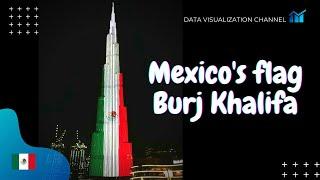 Dubái ilumina el Burj Khalifa con la bandera de México 🇲🇽 en el día de la independencia de México