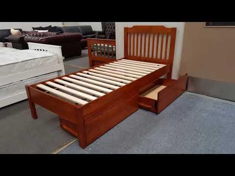 Chloe Single Bed Adjustable Base Height Antique Oak Malaysian Made