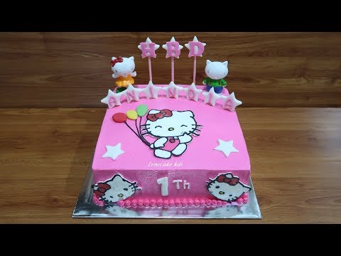 Without Nozzle! How to Make Birthday Cake Hello Kitty Tart Simple