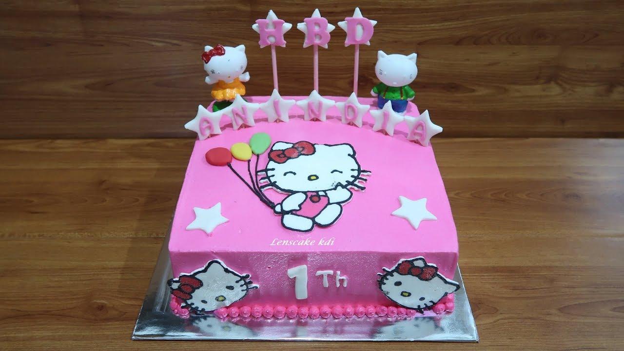 Tanpa Spuit Cara Membuat Kue Ulang Tahun Hello Kitty Cake Tart Sederhana Youtube