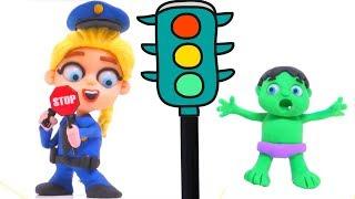 FROZEN ELSA POLICE & BABY HULK ❤ Superhero Hulk & Frozen Play Doh Cartoons For Kids