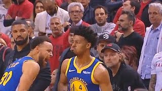Drake In His Feelings After Quinn Cook Crazy 3 Pointers & Stephen Curry Can't Believe It In Game 2!
