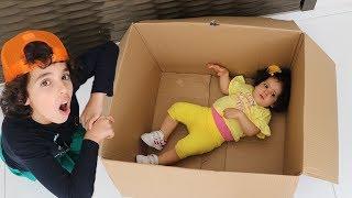 My little sister hiding in the box _ ADEL ET SAMI
