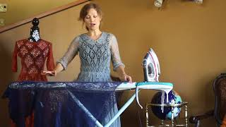 How to block knitted dresses on ironing board