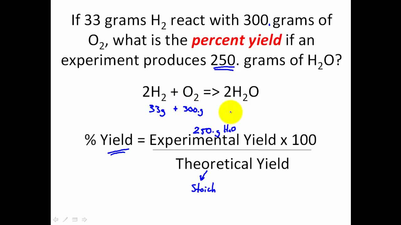 STOICHIOMETRY - Percent Yield Stoichiometry Problems - CLEAR ...