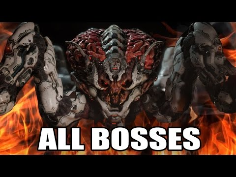 DOOM - All Bosses (With Cutscenes) HD