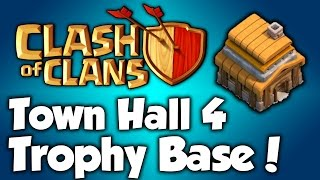 Clash Of Clans - Best Town Hall 4 Trophy Base (th4) Speed Build 2015 - BEST TH4 Trophy Base Layout