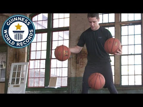 Most bounce juggles in one minute (basketballs) – Guinness World Records