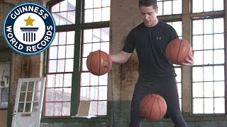 Most bounce juggles in one minute (basketballs) - Guinness World Records