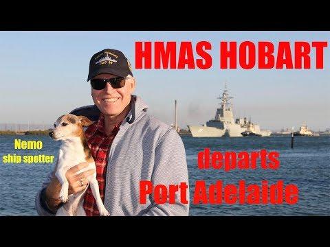 HMAS HOBART departs Port Adelaide 5 April 2018
