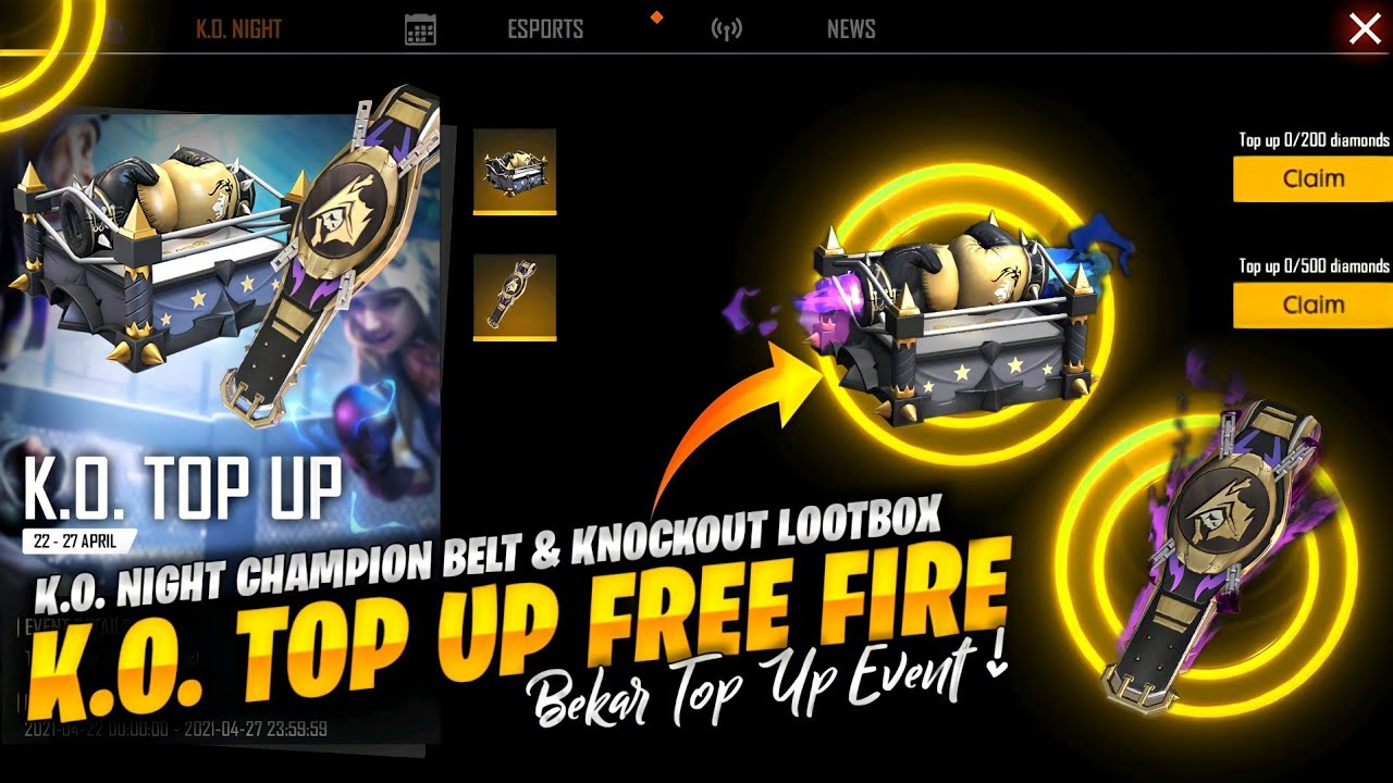 Knockout Loot box and KO Night Champion Belt in Free Fire