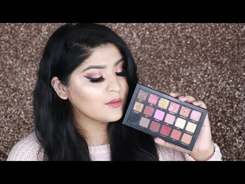 Huda Beauty Rose Gold Palette Swatches, Review & Tutorial + How To wear False Lashes | Shreya Jain