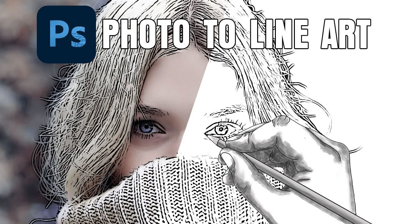 How To Convert A Photo To Line Art Drawing In Photoshop Youtube