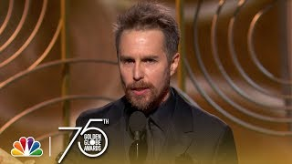 Sam Rockwell accepts the award for Best Performance by an Actor in a Supporting Role in a Motion Picture at the 75th Annual Golden Globe Awards.
