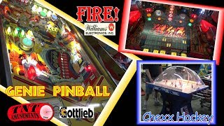 #1287 Williams FIRE! & Gottlieb GENIE Pinball Machines-Plus CHEXX HOCKEY-TNT Amusements