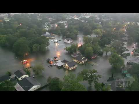 09-19-19 Beaumont, TX Lamar University Area Flash Flood Homes Flooded Cars Stalled  Aerial 4K