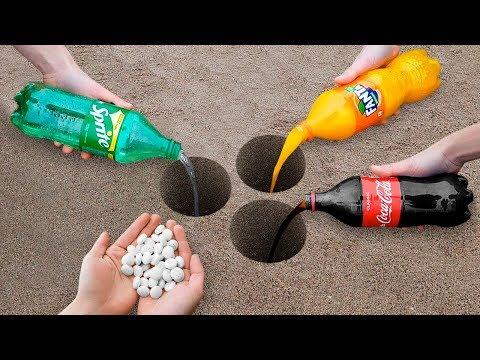 Coca Cola, Fanta, Sprite and Mentos Underground!