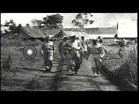 General Douglas MacArthur inspects 6th Army headquarters in New Guinea, during Wo...HD Stock Footage