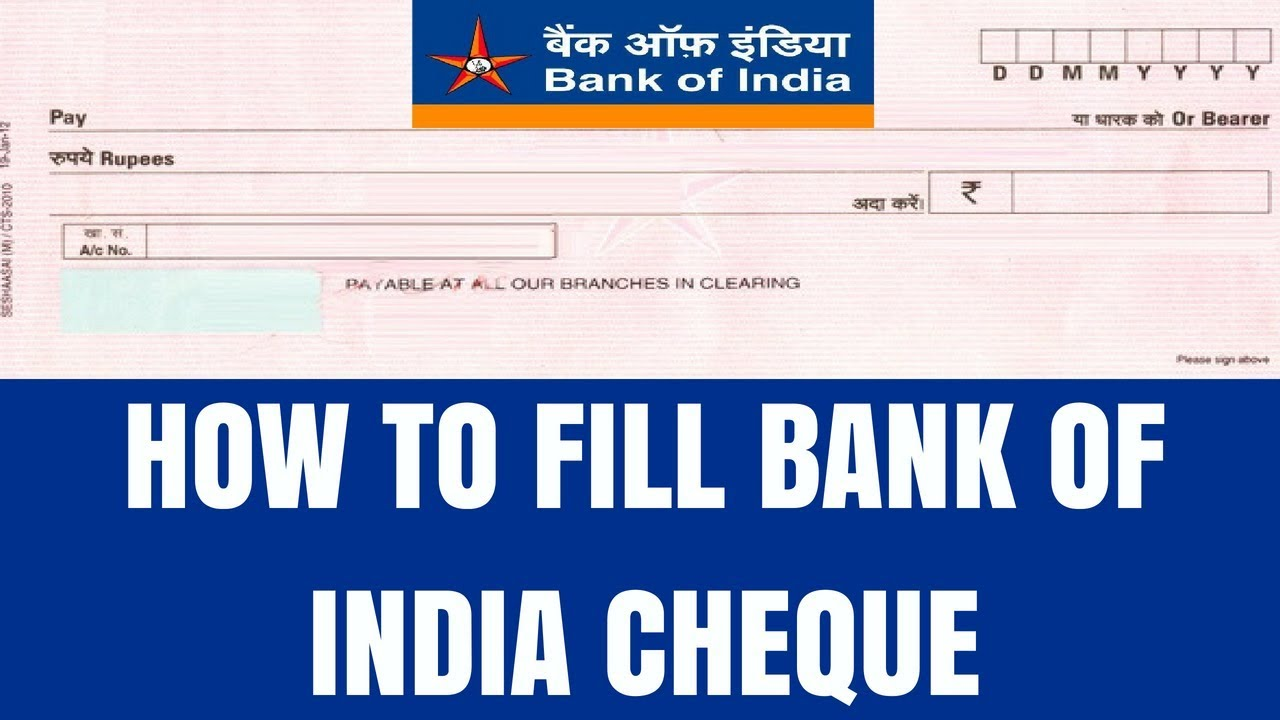 Bank Of India Cheque
