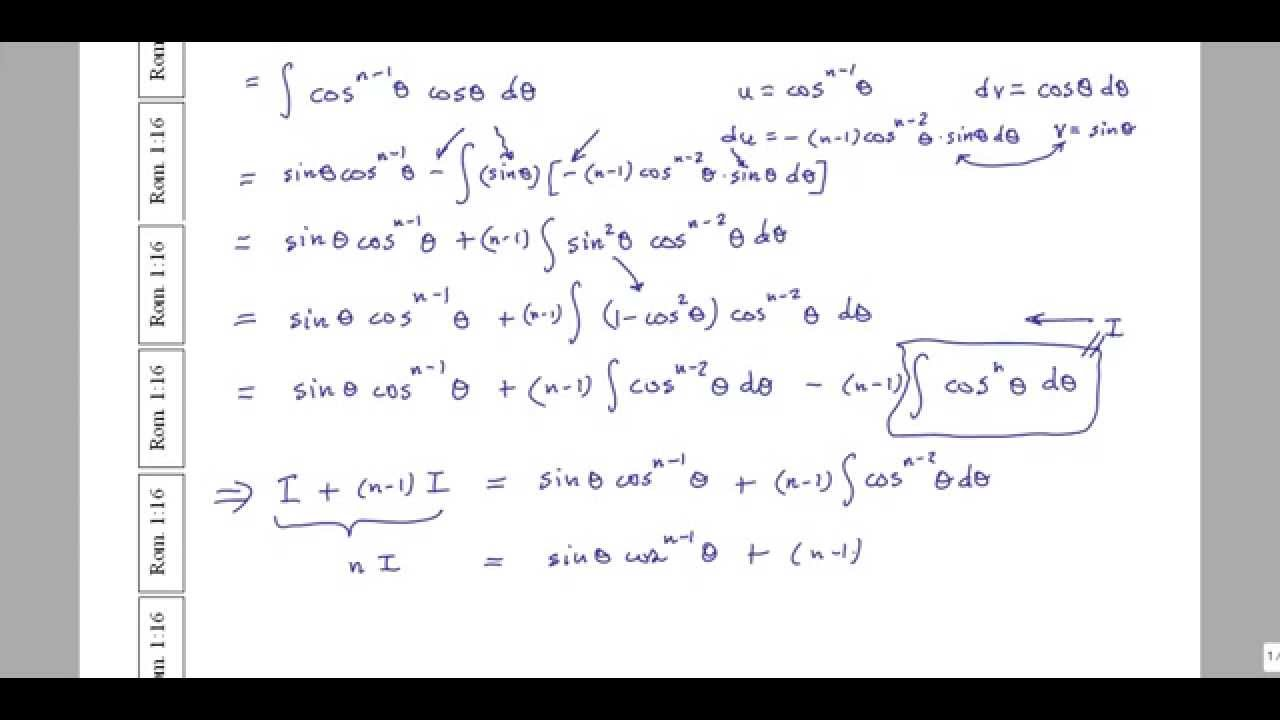integral of cos n