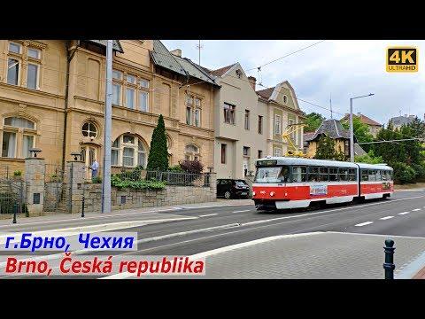 Красивый город Брно в Чехии, прогулка по улице и парку, июнь 2019 Brno, Česká Republika