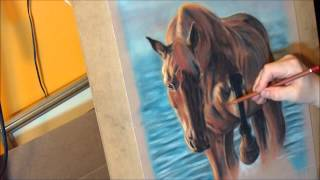 Fast drawing - The Chestnut Horse in soft pastels