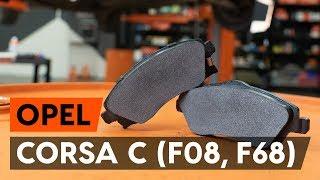 Kā nomainīt priekšējās bremžu kluči / bremžu uzlikas OPEL CORSA C (F08, F68) [AUTODOC VIDEOPAMĀCĪBA]