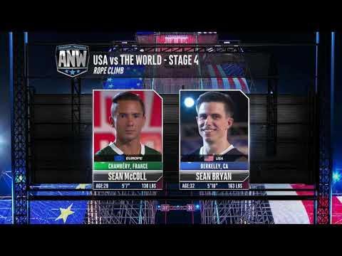 American Ninja Warrior :USA Vs The World Stage 4 Climb Off | Sean McColl Vs Sean Byran