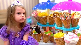 Eva pretends to be a princess and plays in a real ice cream shop