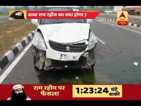 Cars in Gurmeet Ram Rahim's convoy crash into each other on his way to Panchkula